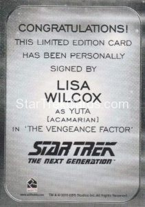 Star Trek 50th Anniversary Trading Card Autograph Lisa Wilcox Back