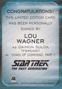 Star Trek 50th Anniversary Trading Card Autograph Lou Wagner Back