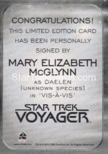 Star Trek 50th Anniversary Trading Card Autograph Mary Elizabeth McGlynn Back