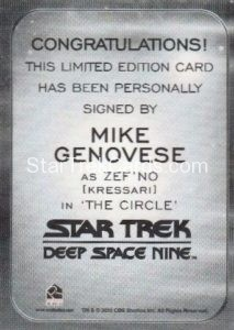 Star Trek 50th Anniversary Trading Card Autograph Mike Genovese Back