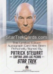 Star Trek 50th Anniversary Trading Card Autograph Patrick Stewart Back