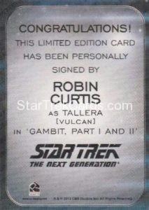 Star Trek 50th Anniversary Trading Card Autograph Robin Curtis Back