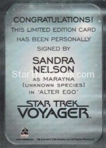 Star Trek 50th Anniversary Trading Card Autograph Sandra Nelson Back