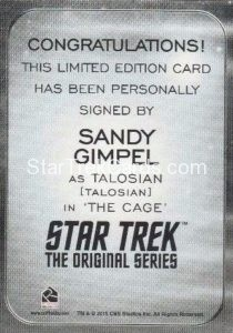 Star Trek 50th Anniversary Trading Card Autograph Sandy Gimpel Back