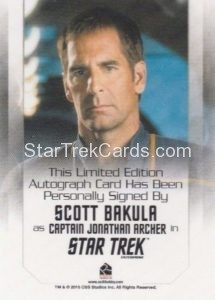 Star Trek 50th Anniversary Trading Card Autograph Scott Bakula Back