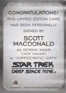 Star Trek 50th Anniversary Trading Card Autograph Scott MacDonald Back