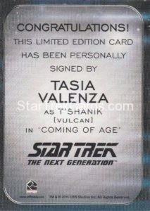 Star Trek 50th Anniversary Trading Card Autograph Tasia Valenza Back
