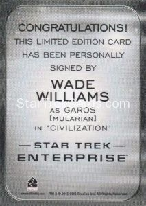 Star Trek 50th Anniversary Trading Card Autograph Wade Williams Back