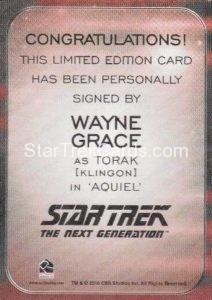 Star Trek 50th Anniversary Trading Card Autograph Wayne Grace Back