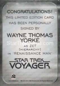 Star Trek 50th Anniversary Trading Card Autograph Wayne Thomas Yorke Back