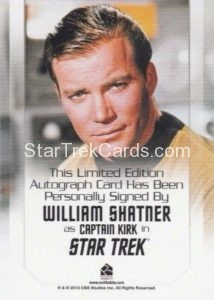 Star Trek 50th Anniversary Trading Card Autograph William Shatner Back