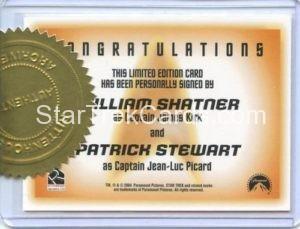 Star Trek 50th Anniversary Trading Card Autograph William Shatner Patrick Stewart Back