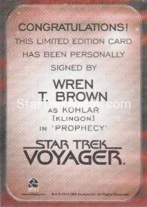 Star Trek 50th Anniversary Trading Card Autograph Wren T Brown Back