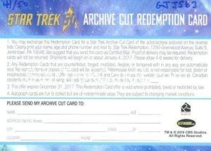 Star Trek 50th Anniversary Trading Card DeForest Kelley Autograph Redemption Card Back