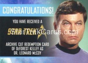 Star Trek 50th Anniversary Trading Card DeForest Kelley Autograph Redemption Card Front