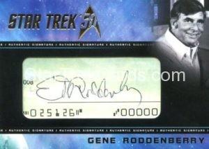 Star Trek 50th Anniversary Trading Card Gene Roddenberry Cut Signature Front
