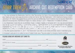 Star Trek 50th Anniversary Trading Card Mark Lenard Autograph Redemption Card Back