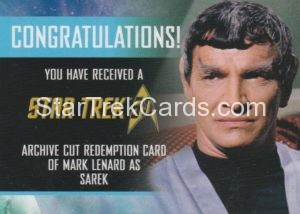 Star Trek 50th Anniversary Trading Card Mark Lenard Autograph Redemption Card Front