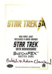 Star Trek 50th Anniversary Trading Card Sketch Bekah Adam Cleveland Back
