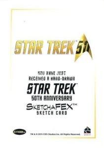 Star Trek 50th Anniversary Trading Card Sketch Bien Flores Back