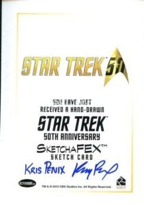 Star Trek 50th Anniversary Trading Card Sketch Kris Penix Back