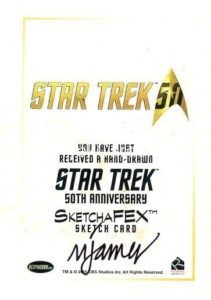 Star Trek 50th Anniversary Trading Card Sketch Mike James Back