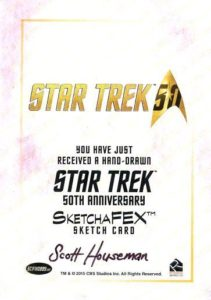 Star Trek 50th Anniversary Trading Card Sketch Scott Houseman Back