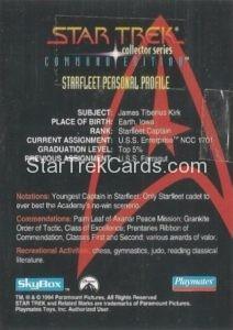 Star Trek Command Edition Playmates Action Figure Cards Captain James T Kirk Back
