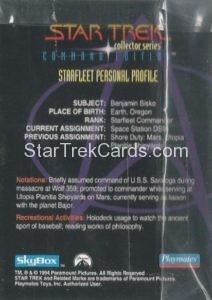Star Trek Command Edition Playmates Action Figure Cards Commander Benjamin Sisko Back