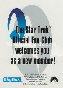 Star Trek Fan Club Trading Card Back