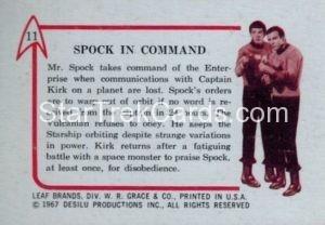 Star Trek Leaf 1967 Trading Card 11 Back