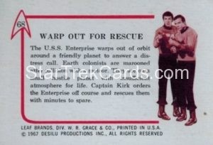 Star Trek Leaf 1967 Trading Card 68 Back
