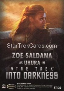Star Trek Movies Collectors Set Trading Card STID5 Back