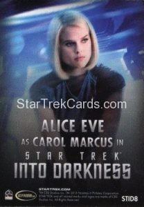Star Trek Movies Collectors Set Trading Card STID8 Back