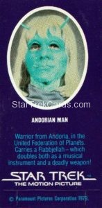 Star Trek The Motion Picture Weetabix Trading Card Andorian Man Back