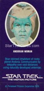 Star Trek The Motion Picture Weetabix Trading Card Andorian Woman Back