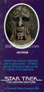 Star Trek The Motion Picture Weetabix Trading Card Arcturian Back