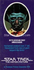 Star Trek The Motion Picture Weetabix Trading Card Betelgeusian Chief Ambassador Back