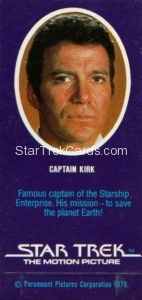 Star Trek The Motion Picture Weetabix Trading Card Captain Kirk Back