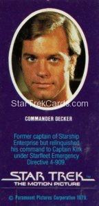 Star Trek The Motion Picture Weetabix Trading Card Commander Decker Back