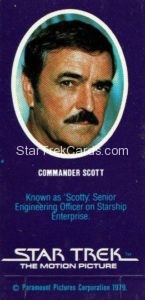 Star Trek The Motion Picture Weetabix Trading Card Commander Scott Back