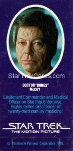 Star Trek The Motion Picture Weetabix Trading Card Doctor Bones McCoy Back