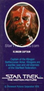 Star Trek The Motion Picture Weetabix Trading Card Klingon Captain Back