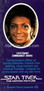 Star Trek The Motion Picture Weetabix Trading Card Lieutenant Commander Uhura Back