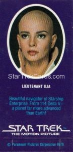 Star Trek The Motion Picture Weetabix Trading Card Lieutenant Ilia Back