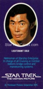 Star Trek The Motion Picture Weetabix Trading Card Lieutenant Sulu Back