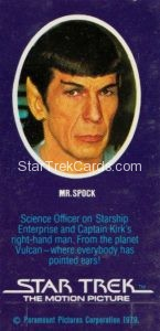Star Trek The Motion Picture Weetabix Trading Card Mr Spock Back