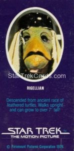 Star Trek The Motion Picture Weetabix Trading Card Rigellian Back