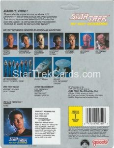 Star Trek The Next Generation Action Figure Cards Galoob Commander William Riker Back