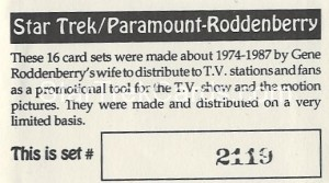 Star Trek Gene Roddenberry Promotional Set 2119 Trading Card 1